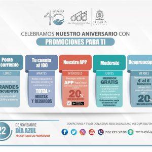 AMPLIAN VIGENCIA DE PROMOCIONES EN AGUA Y SANEAMIENTO DE TOLUCA