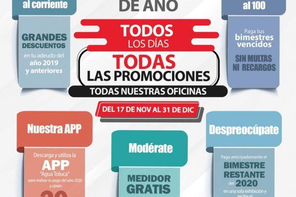 CONTINUAN VIGENTES PROMOCIONES DE BUEN FIN DE AÑO EN AGUA Y SANEAMIENTO DE TOLUCA